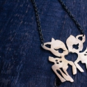 Bambi őz nyaklánc, szerelmes őzek nyaklánc, Ékszer, Nyaklánc, Medál, Rézből kézzel vágott, vésett és polírozott őz medál -.-.-.-.-.-.-.-.-.-.- Medál méretei: 5x5 cm Lánc..., Meska