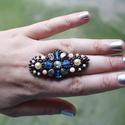Mesés, fűzött gyöngyös, állítható méretű gyűrű , Ékszer, Mindenmás, Gyűrű, Mesés, fűzött gyöngyös, állítható méretű gyűrű   Imádom a hatalmas gyűrűket, amik ön..., Meska