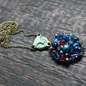 Kék álom hímzett gyöngy és kristály női nyaklánc, hamza medállal, Ékszer, Mindenmás, Nyaklánc, Kék álom hímzett gyöngy és kristály női nyaklánc, hamza medállal  Egyedi, kézzel hímzett,..., Meska