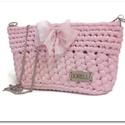 Frozen rózsaszín horgolt party táska, Táska, Válltáska, oldaltáska, Horgolás, Különleges horgolással készült ez a kis masnis táska. A legszükségesebb dolgaidnak készült. Élénk, ..., Meska