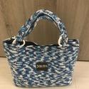 Kék-fehér horgolt táska, Táska, Horgolás, Varrás, Kék-fehér színátmenetes fonalból készült horgolt táska. A táska alja 5x25 cm, magassága 22 cm, a tá..., Meska