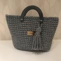 Vintage denim horgolt táska, Táska, Horgolás, Erős, vastag zsinórfonalból készült táska. 10x30 cm-es szürke bőr alapra készült, magassága 30 cm. ..., Meska