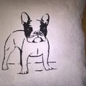 Díszpárna francia bulldog hímzéssel , Otthon, lakberendezés, Dekoráció, Lakástextil, Párna, 36x36cm hímzett díszpárna puha bársonyos tapintású anyagból. Belsejében puha PE. töltőanya..., Meska