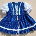 Kékfestő mintájú kislányruha 98-104-es méret, Ruha, divat, cipő, Gyerekruha, Gyerek (4-10 év), 104-es méretű kékfestő mintájú anyagból készült kisruha. Ujja hímzett madeira anyagból. O..., Meska
