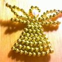 gyöngy angyalka, Karácsonyi, adventi apróságok, Karácsonyfadísz, 5mm-es arany tekla gyöngyből, drótra fűzött angyalka., Meska