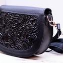 fekete táska hímzett betéttel, Táska & Tok, Kézitáska & válltáska, Válltáska, Bőrművesség, Erre a méretű táskára minden nőnek szüksége van a mindennapi élet során.   Az egyszerű vonalvezetés..., Meska