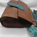 Barna-kék válltáska, Táska & Tok, Kézitáska & válltáska, Vállon átvethető táska, Bőrművesség, A táska vállra akasztható ,belsejében két kis zsebbel. A vállpántja  vidám,feldobja a táskát.  A vá..., Meska