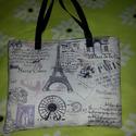 Párizs - os táska, Táska, Ruha, divat, cipő, Válltáska, oldaltáska, Tarisznya, Fekete vászon hátuljú, Párizs mintás egyedi táska. Flízzel bélelt. Belső zipzáros zsebbel és egy mob..., Meska