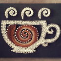 String art kávéscsésze , Dekoráció, Otthon, lakberendezés, Kép, Falikép, Mindenmás, String art, azaz fonaltechnikával készült kép.  A fekete akril festékkel festett fenyő deszkán egy ..., Meska
