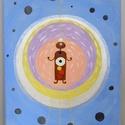 Meditáció, Dekoráció, Otthon, lakberendezés, Kép, Falikép, Akrilfestmény feszített vásznon. 25x35 cm.  A meditáló figurát áttetsző gyöngyházfény ves..., Meska