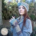 Dorothy kék barna beige horgolt tavaszi sapka pamut fonalból virág kitűzővel, Ruha, divat, cipő, Kendő, sál, sapka, kesztyű, Kesztyű, Sál, Tavaszra ideális pamut szett.  Újragondolt svájci sapka, fejformáló modell, ebben a szettben ga..., Meska