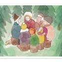 Család - képeslap, Naptár, képeslap, album, Képeslap, levélpapír, Karácsonyi, adventi apróságok, Ajándékkísérő, képeslap, Család - normál méretű (A6 - 10,5*14,8 cm) félbehajtható képeslap.  Ez egy általam készített rajz so..., Meska