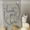 """Otthon édes otthon...- Fa táblakép, Dekoráció, Otthon, lakberendezés, Kép, Falikép, """"Édes otthon......"""" fa táblakép, fehér alapon fekete mintával.  Otthonunknak szép dísze lehet..., Meska"""