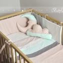 Rózsaszín-menta baba ágynemű szett, Baba-mama-gyerek, Gyerekszoba, Falvédő, takaró, Patchwork, foltvarrás, Varrás, A kelméket kiváló minőségű pamut puplin textilekből válogattam össze. Előnyük a finomság, mérettart..., Meska