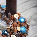 Élénk türkiz-  adventi koszorú, Dekoráció, Karácsonyi, adventi apróságok, Otthon, lakberendezés, Ünnepi dekoráció,  Átmérője kb. 26 cm.  Nézd meg a többi termékünket is! Sok különlegesség van :-), Meska