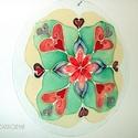 Szeretet mandala, Dekoráció, Kép, Festészet, Üvegművészet, Saját tervezésű 30 cm-es csiszolt üveglapra festett mandala.  Ez a mandala jelképezi a  feltétel né..., Meska