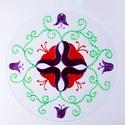 Tulipán mandala, Dekoráció, Otthon, lakberendezés, Falikép, Dísz, Festészet, Üvegművészet, Tulipán mandala 30cm-es csiszolt üveglapra festve  Ez a mandala jelképezi a kifinomult energiákat, ..., Meska