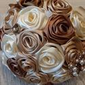 Selyemvirág csokor a nagy napra!, Esküvő, Esküvői csokor, Esküvői dekoráció, Barna,bézs,arany,ekrü színű csodacsokor bármilyen ünnepi alkalomra!Szép,letisztult,varázslat..., Meska