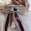 Örök csokor, Esküvő, Képzőművészet, Ballagás, Esküvői csokor, Virágkötés, Varrás, Barna-bézs-szürke-ekrü színű selyemcsokor  Nagyon kedvelt divatos harmonizáló színekkel készült cso..., Meska
