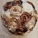 Menyasszonyi csokor, Esküvő, Esküvői csokor, Esküvői dekoráció, Örök kedvenc a rendelőim között ez a szín összeállítás:cappuccino barna,arany és krém sz..., Meska