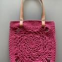 Csipkés pink kisméretű táska, Táska & Tok, Kézitáska & válltáska, Horgolás, Romantikus, csipkemintás horgolt élénk pink színű kisméretű válltáska lepatentolható bőrfüllel - am..., Meska