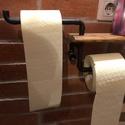 WC papír tartó., Otthon & Lakás, Bútor, Más bútor, Festett tárgyak, Famegmunkálás, WC papír tartó nagyon praktikus, ami készült fa és réz vízvezeték csőből, fa része lazúrozva, a réz..., Meska