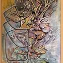 Őszi avar, absztrakt akrilfestmény, Dekoráció, Képzőművészet, Kép, Festmény, Festészet, Absztrakt akrilfestmény, 50x70 cm, feszített vászonra, Meska