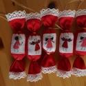 Fahéj illatú angyalkás szaloncukor , Dekoráció, Karácsonyi, adventi apróságok, Karácsonyfadísz, Karácsonyi dekoráció, 5 db szaloncukor flízzel és fahéjjal töltve lenvászon anyagból. Karácsonyfadísznek vagy ajá..., Meska
