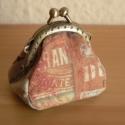 Pénztárca, Táska, Pénztárca, tok, tárca, Pénztárca,  4.5 cm fémkeretre varrt. Mérete 4.5 x 4.5 cm., Meska