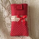 Piros pöttyös mobiltok, Minőségi vászonból,pamutvászon béléssel,min...