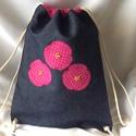 Hátizsák - pöttyös rózsás, Baba-mama-gyerek, Táska, Baba-mama kellék, Hátizsák, Minőségi farmeranyagból készítettem ezt a hátizsákot,szép pöttyös pamutvászon anyagból,g..., Meska