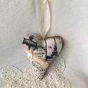 Vintage szív, Minőségi pamutvászonból..csipke...gyöngy...sz...