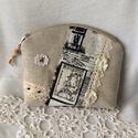 Vintage párizsos neszeszer, Erős vászonból,csipkés,szalagos,gyöngyös dí...