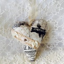 Vintage szív,párizsos 1., Minőségi pamutvászonból..csipke...gyöngy...sz...