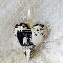Vintage szív,párizsos 2., Minőségi pamutvászonból..csipke...gyöngy...sz...
