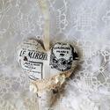 Vintage szív,párizsos 3., Minőségi pamutvászonból..csipke...gyöngy...sz...