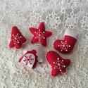 Karácsonyfadísz-piros szett 5db-os, Dekoráció, Ünnepi dekoráció, Karácsonyi, adventi apróságok, Karácsonyfadísz, Varrás, Hímzés, Barkácsfilcből készítettem ezeket a szépséges díszeket,amely ajándékkísérőként is szépek,kézihímzés..., Meska