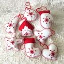 Karácsonyfadísz - fehér szett 8 db-os, Dekoráció, Ünnepi dekoráció, Karácsonyi, adventi apróságok, Karácsonyfadísz, Varrás, Hímzés, Barkácsfilcből készítettem ezeket a szépséges díszeket,amely ajándékkísérőként is szépek,kézihímzés..., Meska