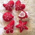 Karácsonyfadísz-piros szett 6 db-os szett, Barkácsfilcből készítettem ezeket a szépsége...