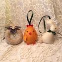 Húsvéti díszek - A három jó barát szett 3 db-os, Baba-mama-gyerek, Dekoráció, Húsvéti díszek, Ünnepi dekoráció, Varrás, Gyapjúfilcből,gyapjúszálból  készítettem,kézihímzéssel,ezeket a szépséges díszeket,amelyek ajándék ..., Meska