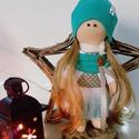 Textil baba, Játék, Baba, babaház, Báb, 25 centiméter magas baba. Speciális babatestanyagól készült, ruhája pamutvászon, dzsörzé, p..., Meska