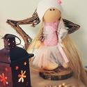 Textil baba, Játék, Dekoráció, Baba, babaház, Dísz, 25 centiméter magas baba. Speciális babatestanyagól készült, ruhája pamutvászon, dzsörzé, p..., Meska