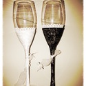 Esküvői pezsgős poharak, Esküvő, Férfiaknak, Nászajándék, Egyedi, kézzel készített esküvői menyasszony és vőlegény pezsgős poharak, Meska