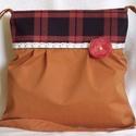 Válltáska csipkével,kitűzővel, Táska, Válltáska, oldaltáska, Terrakotta vászon anyagból készült ez az állítható vállú táska. Hordható vállon ,vállon..., Meska