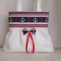 Fehér válltáska tengerész felsőrésszel, Baba-mama-gyerek, Táska, Válltáska, oldaltáska, Fehér  vászonból ,sötétkék-fehér-piros csíkos -horgonyos   felső résszel készítettem ezt a  táskát. ..., Meska