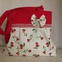 Válltáska virágokkal,csipkével,masnival, Táska, Válltáska, oldaltáska, Tört fehér alapon piros virágos vászonból ,piros felsővel és vállal  készítettem ezt a táskát. Nagyo..., Meska