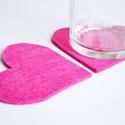 Filc poháralátét - Szív - Pink, Dekoráció, Konyhafelszerelés, Edényalátét, Mindenmás, Egyszerű szabásvonal és letisztult színek összhangja,  szív alakban. Több színben rendelhető, a meg..., Meska