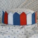 Filc korona narancs-kék-fehér, Baba-mama-gyerek, Játék, Filcből készült korona, kisebb- és óvodáskorú gyermekek számára.  A korona kézzel varrt. J..., Meska