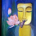 Arany Buddha lótusszal, Művészet, Festmény, Akril, Festészet, 25x30 cm-es vászonra készített festmény akril technikával. Az arany Buddha csillogó metál arany akr..., Meska