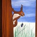 A kíváncsi mókus, Művészet, Festmény, Akril, Festészet, 30x40 cm-es akril technikával feszített vászonra készített festmény., Meska